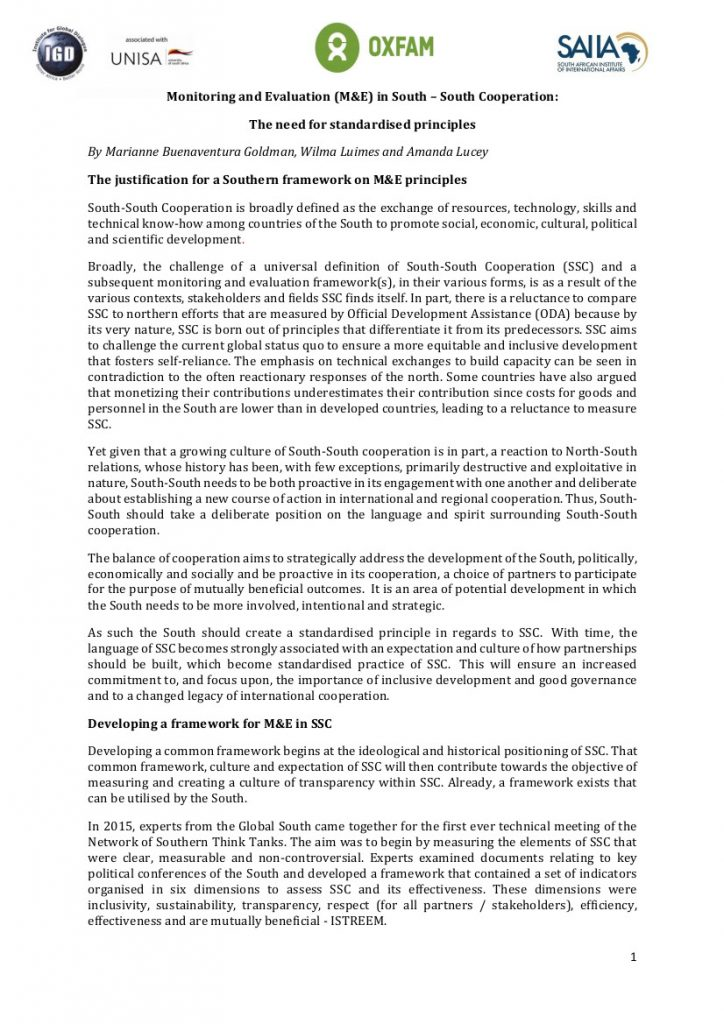 Monitoring and Evaluation (M&E) in South – South Cooperation