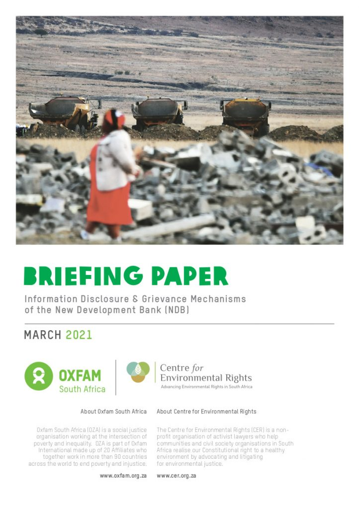 BRIEFING PAPER MARCH 2021 Information Disclosure & Grievance Mechanisms of the New Development Bank (NDB)